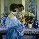 Girl in Blue Arranging Flowers, 1915